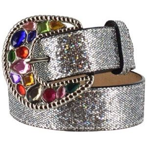 3D Silver Glitter & Rhinestone Buckle Cowgirl Belt